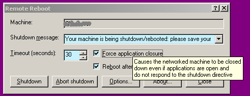 Synesis Software Remote Reboot Shell Extension Arguments Dialog